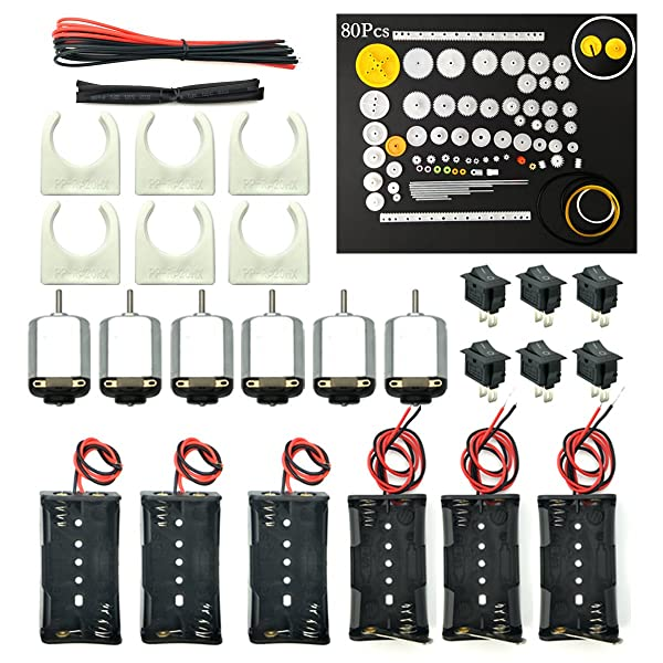 EUDAX 6 set Rectangular Mini Electric 1.5-3V 24000RPM DC Motor with 80 Pcs Plastic Gears,Electronic wire, 2 x AA Battery Holder ,Motor Mounting Bracket,Boat Rocker Switch for DIY Science Projects