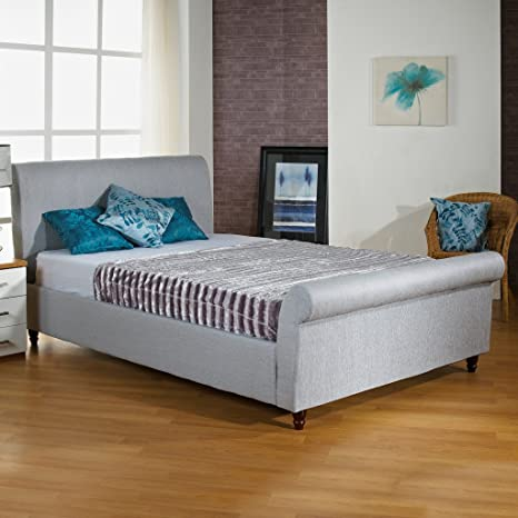 "Hf4You Fabric Upholstered Sleigh Bed Frame - 6Ft Super King - Ice Grey - 6"" Memory Foam Mattress"