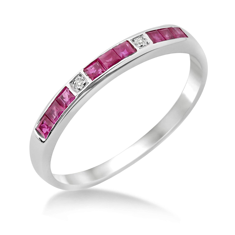 Miore Damen-Ring Memoire 375 Weißgold Rubin und Brillanten MT019R schenken