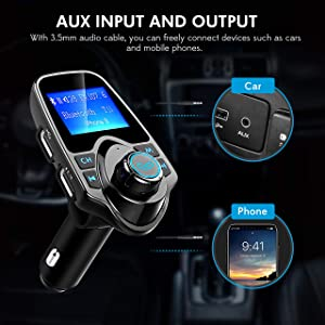 Bluetooth FM Transmitter for Car, TopElek Wireless Radio Transmitter Adapter with Power Off Function, Hands-Free Car Kit Charger, 1.44'' LCD Diaplay, Music Player, 2 USB Ports, AUX In/Out, TF Card (Color: Black, Tamaño: small)