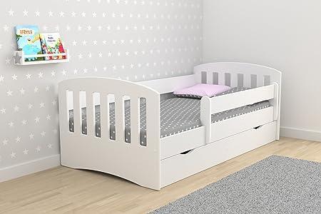 LIT ENFANT 80X180 CM CLASSIC 1 AVEC BARRIERE DE SECURITE + SOMMIER + TIROIRS + MATELAS OFFERT ! - BLANC
