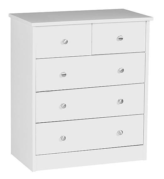 Wohnling WL1.339 - Cómoda (60 x 70 x 35 cm, 5 cajones), color blanco