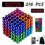 Attom Tech Magnetic Cube 216pcs Rolytoy Magnets Blocks Magnetic Sculpture Holders Square Cube Children's Puzzle Magic Cubes DIY Educational Toys for Kids (Colorful) (Color: Colorful)