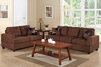 Sofa and Loveseat Set with Accent Pillows (Chocolate) by Poundex