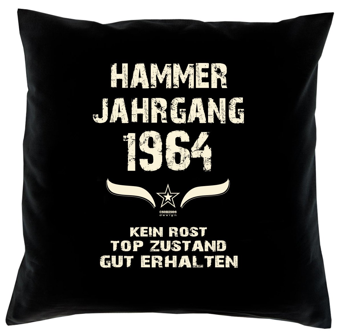 Cooles – Fun – Kissen – Sitzkissen – Zum 52. Geburtstag – Hammer Jahrgang 1964 Farbe: Schwarz – Größe: 40 x 40 cm online bestellen