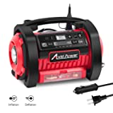 Tire Inflator Air Compressor, 12V DC / 110V AC Dual Power Tire Pump 160 PSI with Inflation and Deflation Modes, Dual Powerful Motors, Digital Pressure Gauge, Avid Power