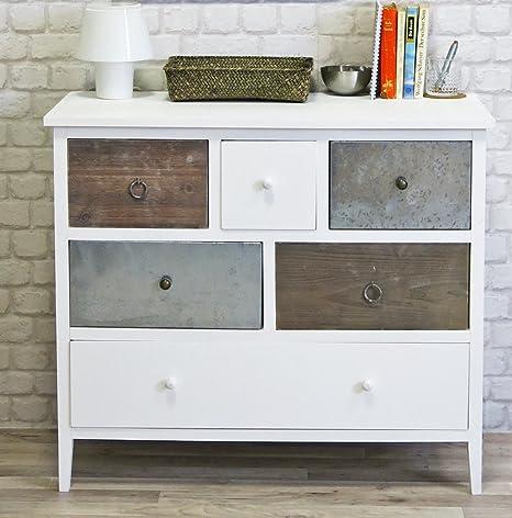 Kommode Retro-Look weiß / bunt, 6 Schubladen, Sideboard - Flurschrank - Schlafzimmerkommode - Shabby-Chic