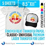 Forever Heat Transfer Paper, Classic+ Universal Premium Laser Transfer for Light 5 sheets 8.5