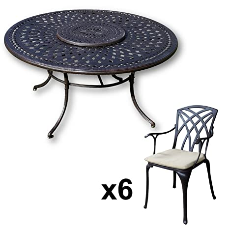 Lazy Susan Furniture - Frances 150 cm Round 6 Seater Cast Aluminium Garden Set - Antique Bronze (April chairs, Stone cushions)