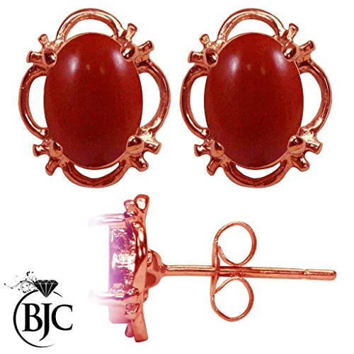 BJC® 9ct Rose Gold Natural Red Coral 1.50ct Oval Filigree Stud Earrings Brand New with Studs Box