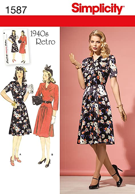1940s Day Dresses 1940s Vintage / RETRO Dress (14-22) SEWING PATTERN                               $8.95 AT vintagedancer.com