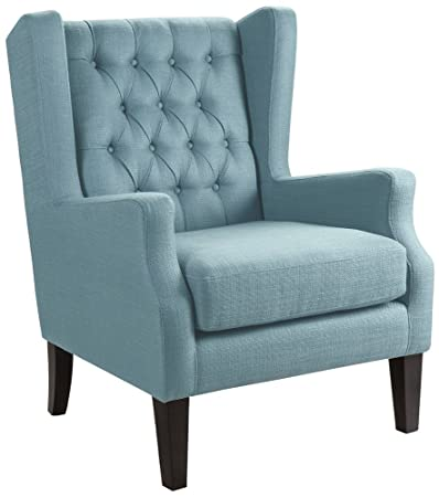 Maxwell Lillian Tidepool Blue Tufted Armchair