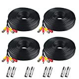 BNC Cable, 200ft 4Pack All-in-One Siames Video Power Security Camera Wire Cord 2 Female Connectors All HD CCTV DVR Surveillance System (4x200FT BNC Cable Black) (Tamaño: 4 feet)