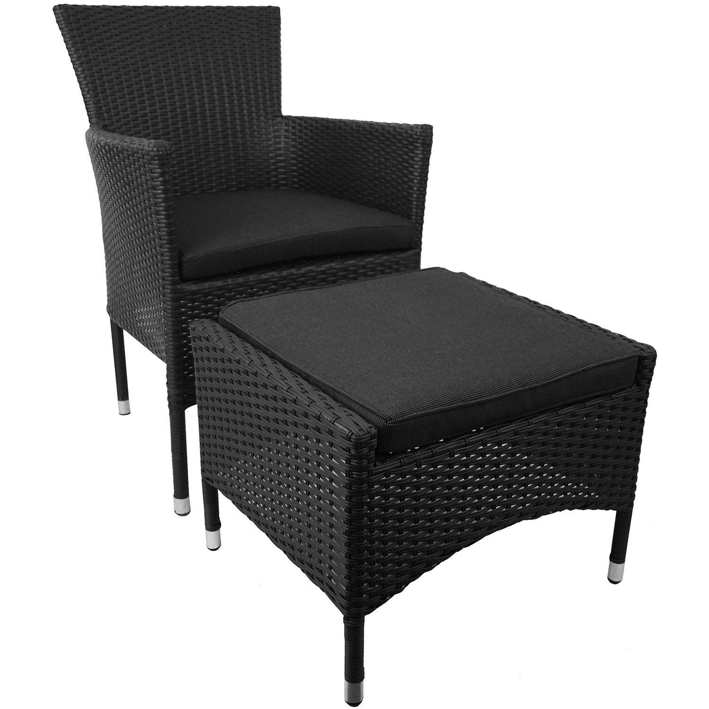 2tlg. Set stapelbarer Polyrattan Sessel mit Hocker inkl. Sitzpolster – Schwarz günstig online kaufen