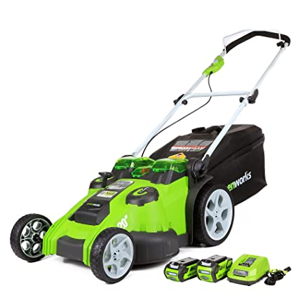 GreenWorks 25302 Twin Force G-MAX 40V Li-Ion 20-Inch Cordless Lawn Mower with 2 Batteries