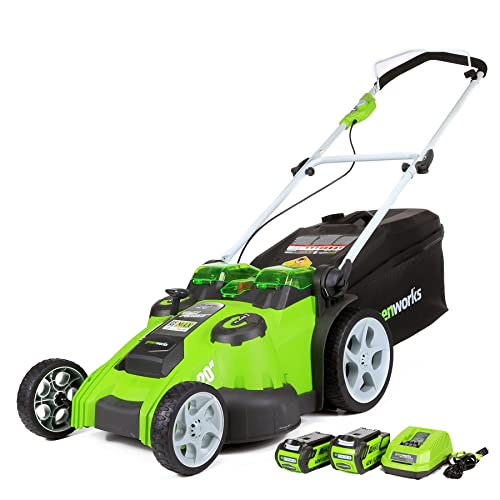 2. GreenWorks 25302 Twin Force G-MAX 40V Li-Ion 20-Inch Cordless Lawn Mower with 2 Batteries and a Charger Inc.