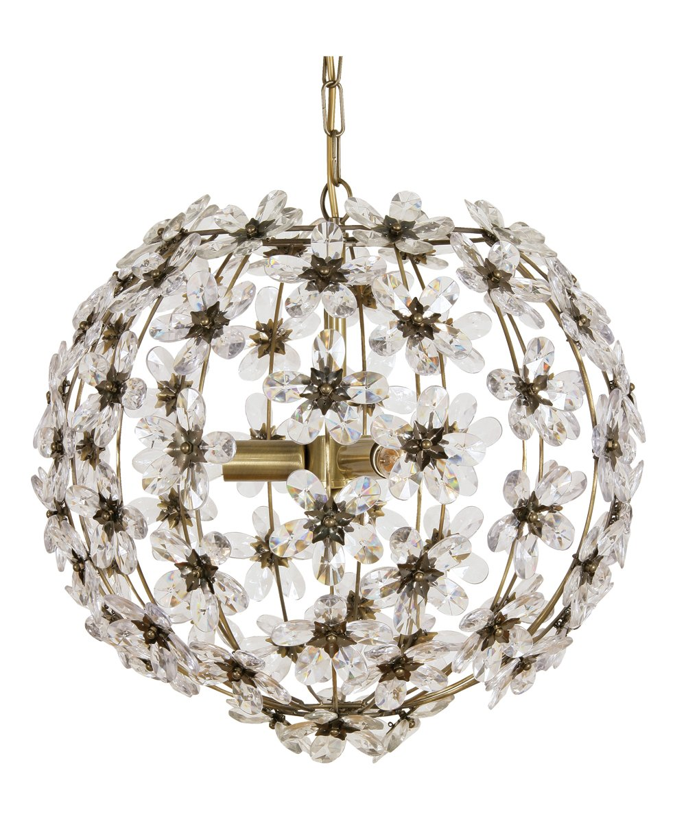 Bonbon Oaks Lighting Deckenlampe in Messing-Antik-Optik, mit Blumenmotiv, aus Acryl, in Birnenform