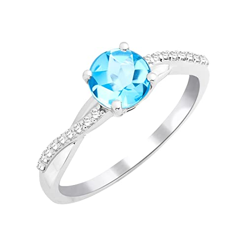 Miore Women's Solitaire Ring, 9 Carat White Gold, Topaz, -MKW9094R2 Blue Size 52