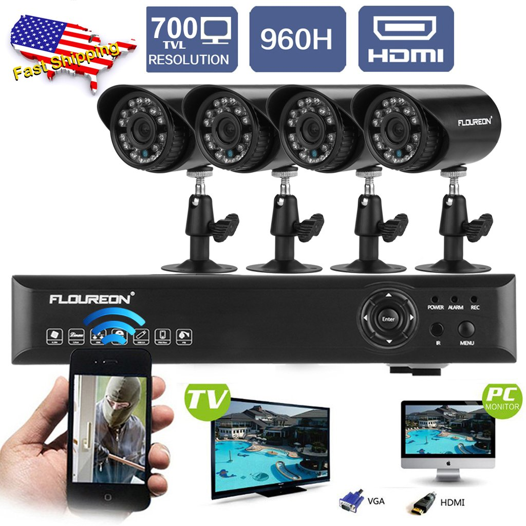 FLOUREON 4CH 960H Digital Video Recorder HDMI DVR+Outdoor Night Vision Bullet Camera 700TVL Waterproof IR LED CCTV Security Cameras 4 Packs, 60ft Cables - No HDD