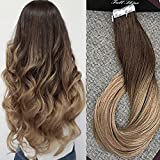Full Shine 18 inch 50g 20Pcs Per Package Brazilian Tape In Extension Real Human Hair Ombre Hair Color #4 Brown Fading to #27 Remy Tape Hair (Color: #4T27, Tamaño: 18