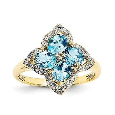 14ct Gold Swiss Blue Topaz and Diamond Ring