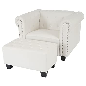 Luxus Sessel Loungesessel Relaxsessel Chesterfield Kunstleder ~ eckige Fuße, weiß mit Ottomane