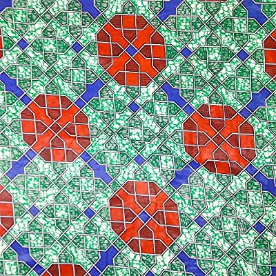 African Print Fabric Cotton Print Tron Green 44'' wide By The Yard Red Green Blue