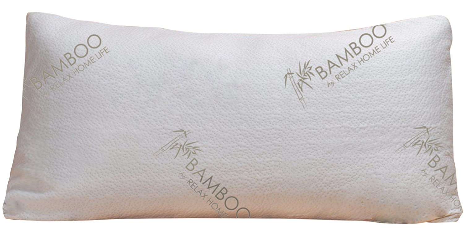 Bamboo By Relax Home Life-Firm Bamboo Pillow With Shredded Memory Foam and Removable Cover(Standard)