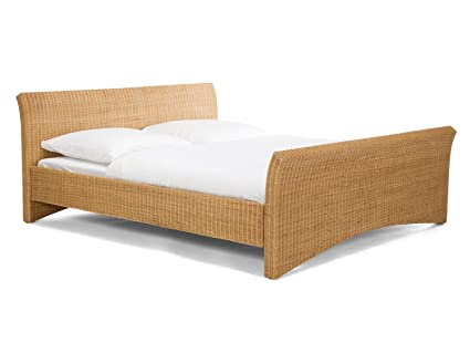 massivum Bett Nivada 140x200cm Rattan braun lackiert