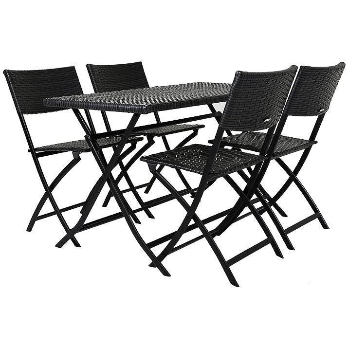 Charles Bentley 5 pezzi Rattan Wicker Amalfi pranzo insieme 4 sedie pieghevoli e tavolo all'aperto Patio Balcone Mobili da giardino - Grey