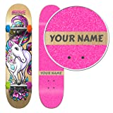 SkateXS Personalized Beginner Unicorn Girls Skateboard (Color: Pink Grip Tape / Multi-Color Wheels, Tamaño: 7.0 x 28 (Ages 5-7))
