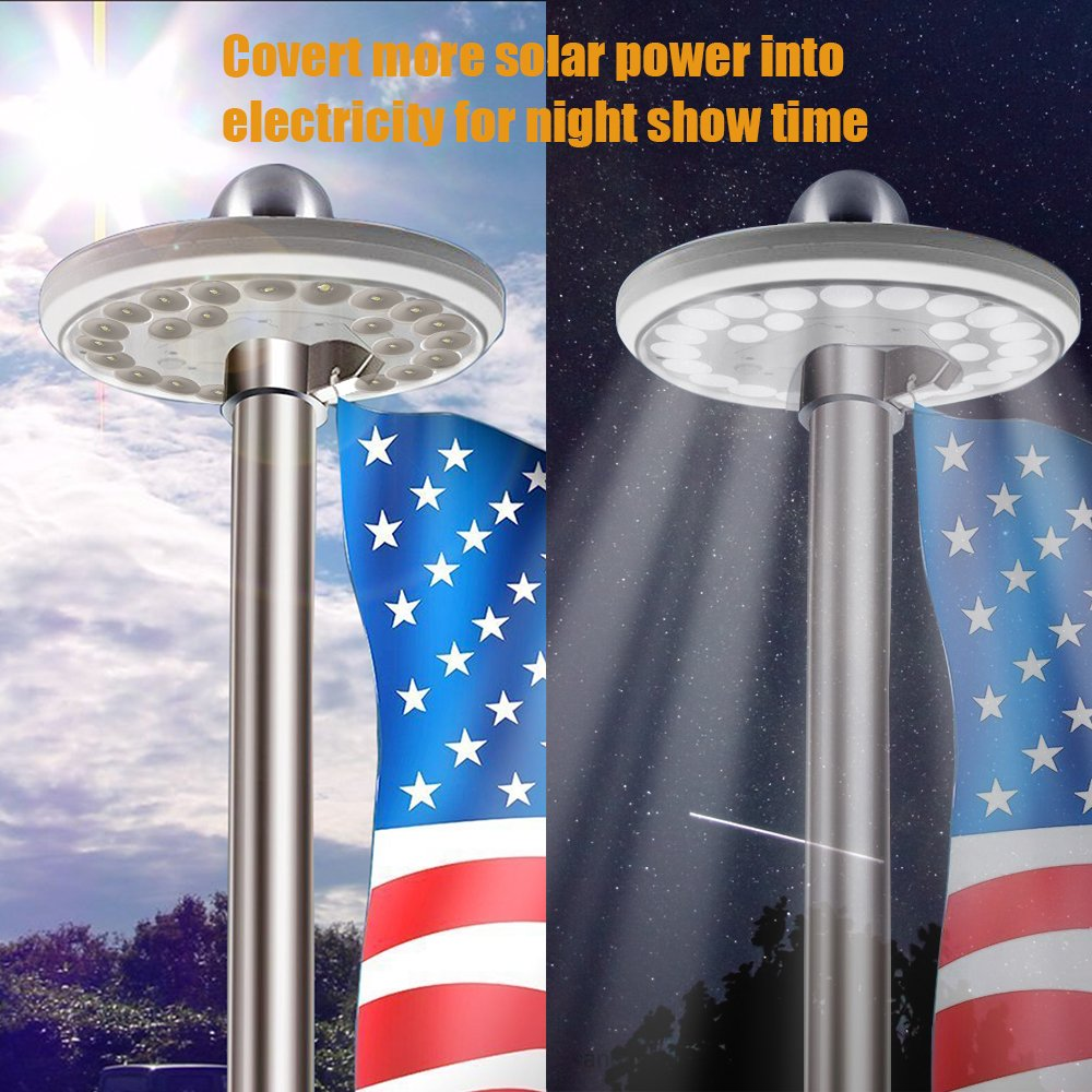 Solar Flag Pole Light, AYY IP65 Waterproof Outdoor Auto Flagpole Lighting Long Lasting Night Light with 26 Super Bright LED Lights for Tent Camping Lawn Patio Garden (White)