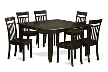 East West Furniture PFCA7-CAP-W 7-Piece Formal Dining Table Set, Cappuccino Finish