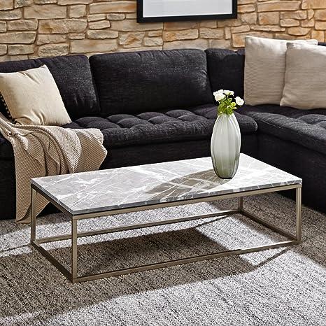 lounge-zone Design Couchtisch PESARO Tischplatte Marmor Alanya black rustik Gestell Nickel geburstet 120x60cm 12857