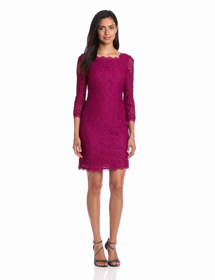 Adrianna Papell Womens 3/4 Sleeve Lace Dress, Crushed Berry, 6