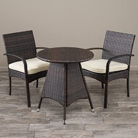 3-piece Wicker Bistro Set with Cushions