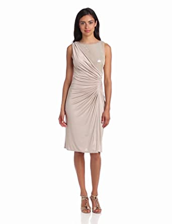 Adrianna Papell Women's Veiled Sequin Jersey Cocktail Dress, Champagne, 10