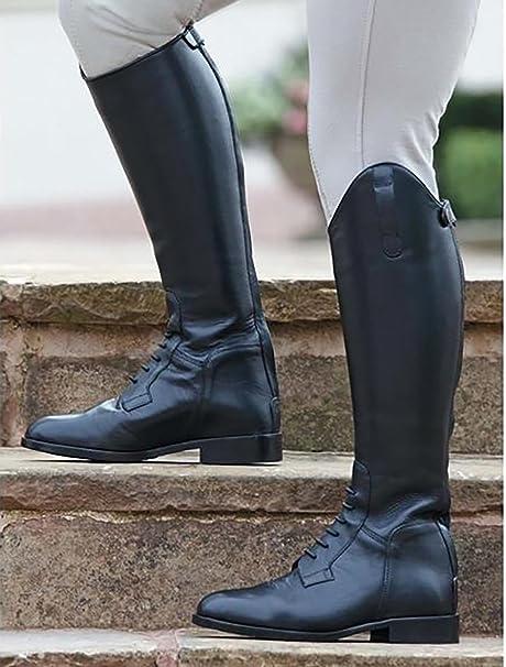 Shires Champ Norfolk Bottes Bottes d'équitation longues en cuir noir avec dentelle Coupe