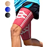 Sparthos Thigh Compression Sleeves by (Pair) – Upper Leg Sleeves for Men and Women Support for Improved Blood Circulation Quad and Hamstring Recovery Sports Running Tennis Workout Basketball (Pink-L)