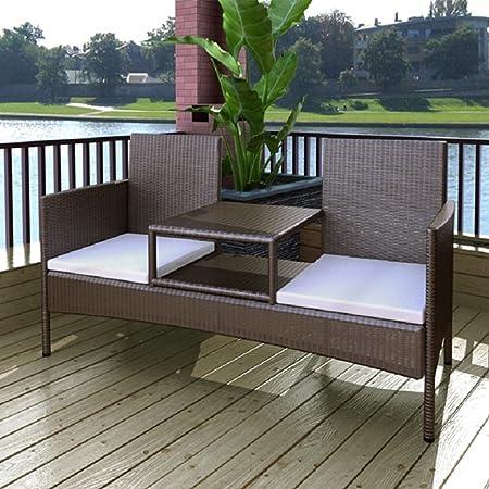 LD ratán de 2plazas banco jardín banco de Lounge sofá Muebles de Jardín + mesa