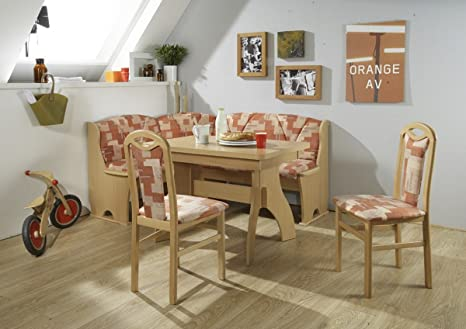 Dreams4Home Eckbankgruppe 'Reva' Essgruppe 170 x 130 x 89 cm Tisch 2 Stuhle modern Buche terracotta Eckbank Kuchentisch 4-teilig Landhaus Kuche