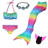 5 Pcs Mermaid Tail Swimsuit Included Monofin and Flower Headband Wet/Dry for Kid