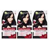 Garnier Color Sensation Hair Color Cream, 1.0 In the Black (Black), 3 Count (Packaging May Vary) (Color: 1.0 In the Black (Black), Tamaño: 3 Count)