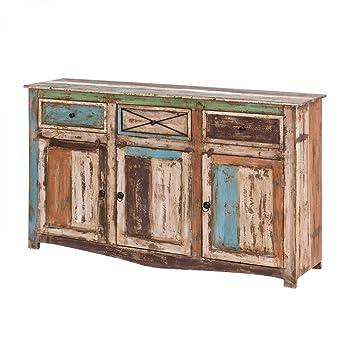 Sideboard Vintage Holz Bunt Massiv bemalt lackiert Kommode 150 cm Breit Mango Massivholz