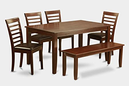 East West Furniture DUML6D-MAH-LC 6-Piece Dining Table Set
