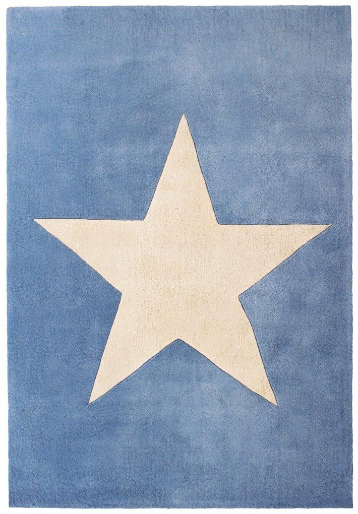 Wollteppich Happy Rugs BIG STAR hellblau 120x180cm kaufen