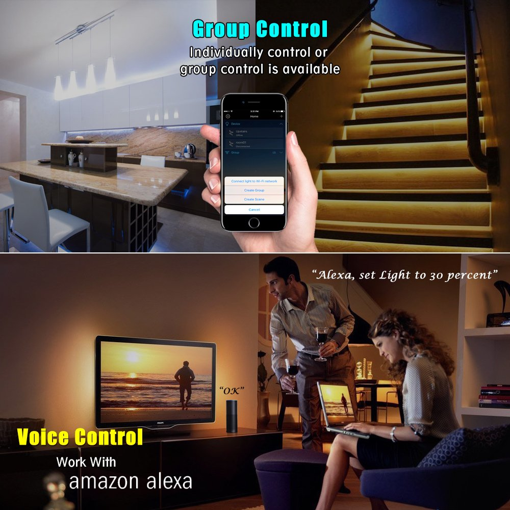 Led light strip, Nexlux Wifi Wireless Smart Phone Controlled Strip Light Kit 16.4ft 150leds 5050 Waterproof IP65 LED Lights ,Working with Android and IOS System,Alexa