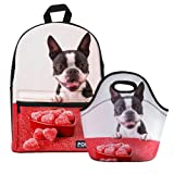 Bigcardesigns Canvas School Backpack with Neoprene Lunch Bag 2 Pcs Set Boston Terrier Printed (Color: Boston Terrier - 2 pcs/set, Tamaño: Medium)