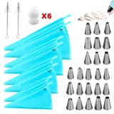 40 Pieces Silicone Pastry Bags, Reusable Icing Piping Bags Baking Cookie Cake Decorating Bags, Cake Decorating Tools with 8 Pack 4 Sizes, 24 Icing Piping Tips, 6 Standard Couplers, 2 Cleaning Brush (Color: Blue, Tamaño: one size)