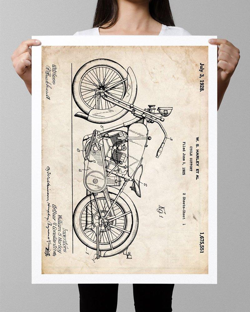 HARLEY DAVIDSON 1928 MOTORCYCLE POSTER Patent Art Print (18